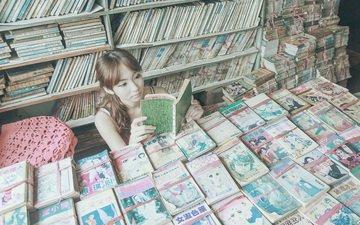 девушка, книги, библиотека, азиатка