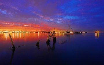 небо, вечер, закат, море, яхта