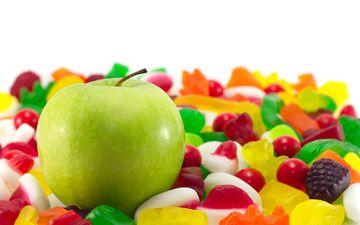 конфеты, яблоко, мармелад
