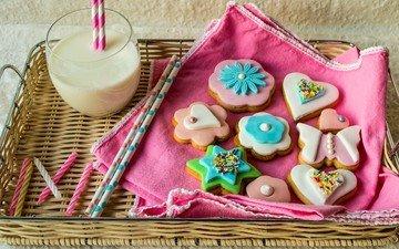 цветы, формы, еда, звезда, сердце, чашка, цветные, молоко, пить, сладкое, водопой, печенье, глазурь, кубок, цветы, shapes, frosting, сладенько, молока, красочная, сердечка