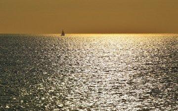 небо, море, горизонт, лодка, паруса