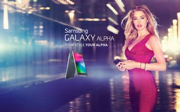 girl, background, dress, blonde, city, the city, black, girls, model, phone, android, technique, hi-tech, doutzen kroes, beautiful, device, blond, smartphone, alpha, samsung, samsung galaxy, samsung galaxy alpha, galaxy alpha