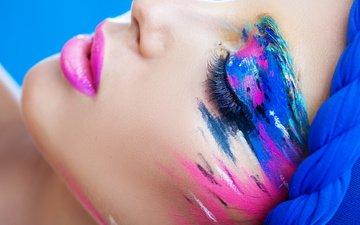 стиль, краски, губы, макияж, тени, ресницы, закрытые глаза