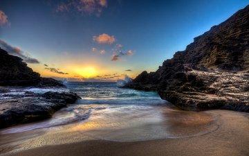 восход, закат, пляж, вс, неба, scenery, ландшафт, песка, на природе, красива, океана