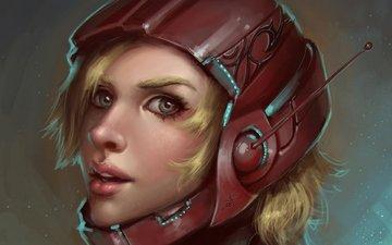 арт, девушка, блондинка, шлем