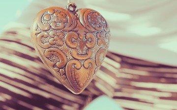 сердце, кулон, украшение, гравировка