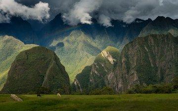 небо, горы, пейзаж, вид, города, радуга, руины, путешествия, of, перу, мачу-пикчу, historic, историческое, святилище, древнего, панорамный, мачу пикчу