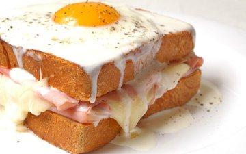 бутерброд, сэндвич, яичница, майонез