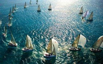 яхты, океан, паруса, регата