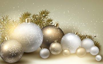 новый год, шары, украшения, снежинки, игрушки