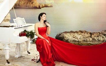 девушка, рояль.платье