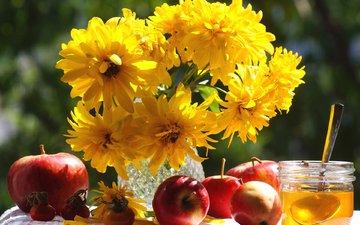 яблоки, шиповник, букет, мед