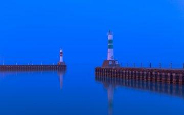 вечер, море, маяк, бухта