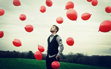 небо, настроение, парень, воздушные шарики