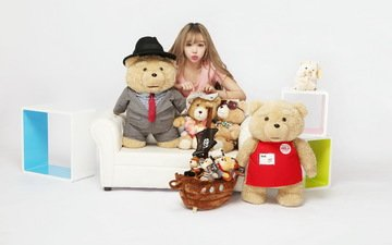 девушка, мишки, игрушки, азиатка
