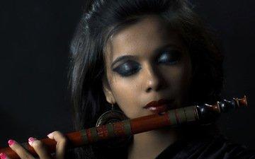 girl, music, flute, bamboo flute