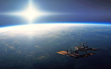 облака, земля, космос, полет, горизонт, атмосфера, мкс