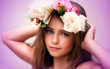 girl, wreath, flowers, child, photography