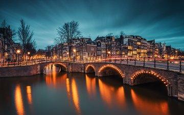 вечер, река, мост, нидерланды, амстердам