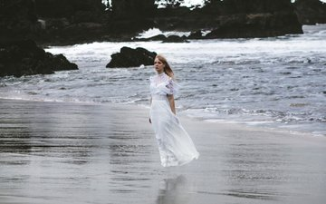 stones, wave, girl, dress, surf, the wind
