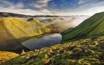 небо, озеро, горы, природа, туман, долина, ландшафт
