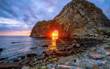 скалы, природа, камни, закат, пейзаж, море, япония, солнечные лучи