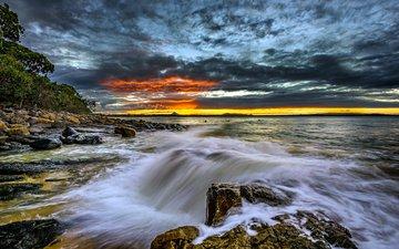 скалы, природа, тучи, горизонт, побережье, океан