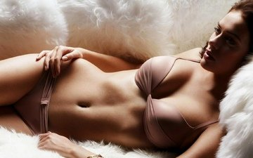 девушка, лежит, трусики, красавица, лифчик, бюст, сексапильная
