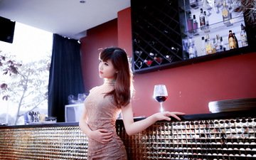 девушка, настроение, бокал, вино, азиатка