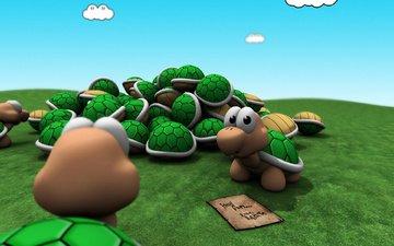 детство, черепахи, тучки, марио, зеленый цвет, 3д, денди