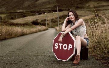 road, girl, stop, waiting