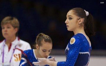 girl, brunette, athlete, gymnastics, aliya mustafina