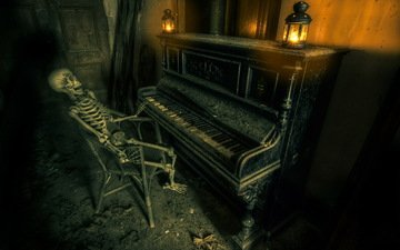music, piano, skeleton