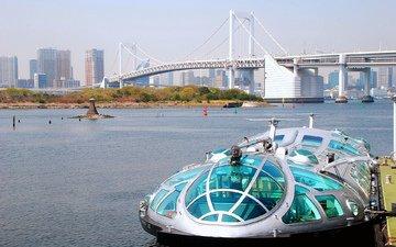 вода, корабль, причал, азия, катер, судно на подводных крыльях.