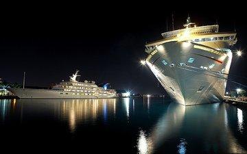 ночь, вода, корабли, причал, яхта