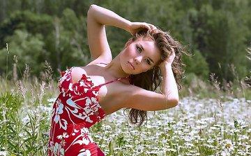 девушка, поле, сарафан