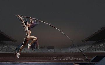 girl, jump, athlete, pole, athletics