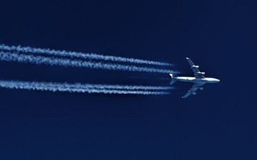 the sky, the plane, flight, speed, trail, boeing