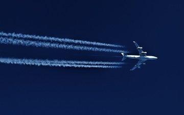 небо, самолет, полет, скорость, след, боинг