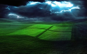 grass, clouds, field, windows