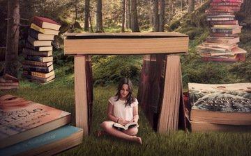 girl, background, books