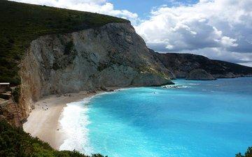небо, облака, скалы, море, греция