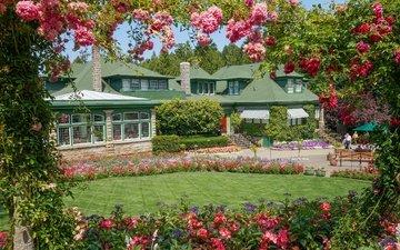 цветы, здание, канада, газон, британская колумбия, сады бутчартов, итальянский сад