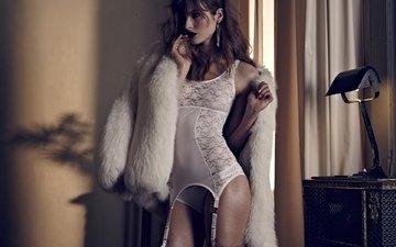 women, stockings, model, underwear, white linen