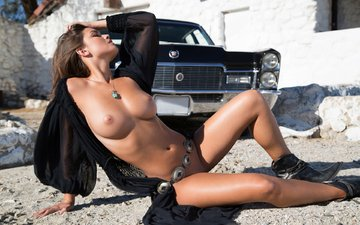tan, car, naked, cadillac, nude, brunette