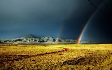 landscape, rainbow, storm, armenia