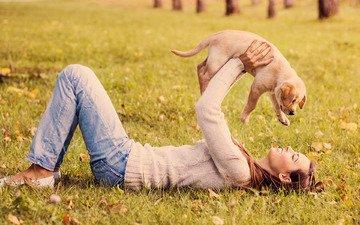 девушка, настроение, щенок