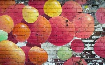 стена, кирпич, граффити