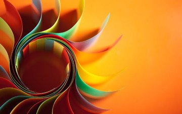 макро, фон, цветок, бумага, форма, разноцветная, оранжевый, листы, изгиб, красочная