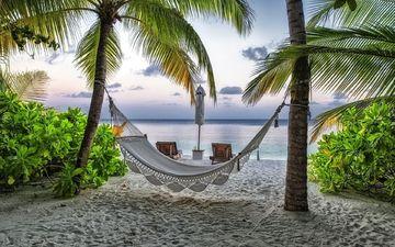 пляж, пальмы, гамак, курорт, мальдивы